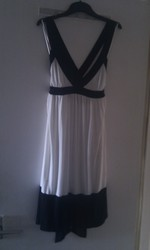 Size 8-10 White & Black Dress - Only Worn Once